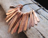 Hammered Paddles set - 22 pcs Copper Paddle Drop Charms for Necklace making - NadinArtGlass