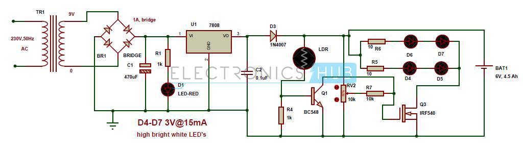 automatic emergency led lights circuit diagram
