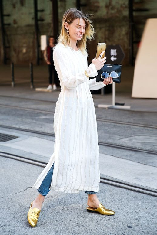 Le Fashion Blog Street Style Layered Summer Look Gauzy White Maxi Dress Jeans Gold Gucci Slip On Loafers Via Popsugar