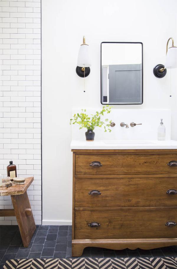Bathroom Design - Wood Vanity and Subway Tiles -Lauren Liess