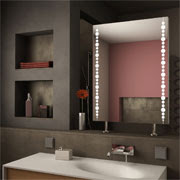 Shatter-resistant IP44-rated LED mirror