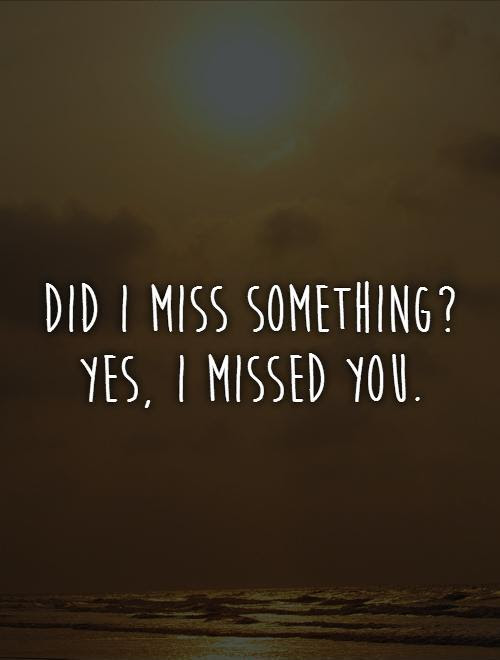 Did I Miss Something Yes I Missed You Picture Quotes