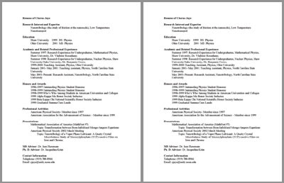 Undergraduate Math and Physics CV