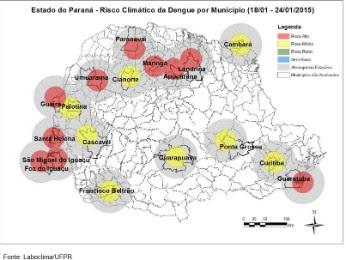Gráfico de condições climáticas mostra as regiões onde há maior risco de infestação do mosquito (Foto: Reprodução Boletim da Dengue Sesa)