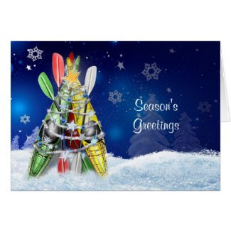 Kayak Christmas Tree Greeting Card