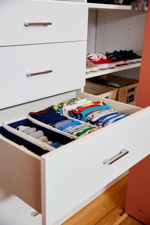 "Socks, undies and pajamas are all where Teddy can get to them. ""The biggest things to ask yourself with a kid's closet is what are they wearing now, what will they be wearing 3 months from now and are the most-used items the easiest to access? Any items that need to be accessed daily, need to be reachable,"" Murphy said."