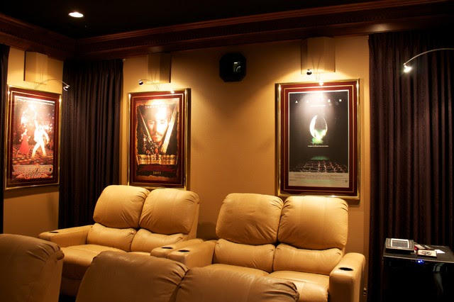 Theater room with hidden projector - - media room - portland - by ...