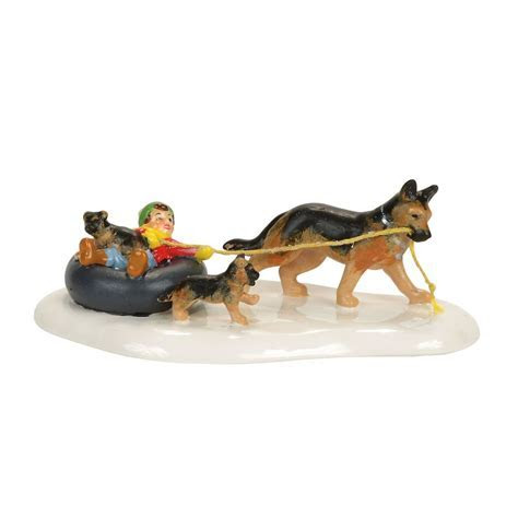 Department 56 Original Snow Village Inner Tube Sled Dog