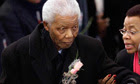 Nelson Mandela arrives for a memorial for his great-granddaughter Zenani Mandela.