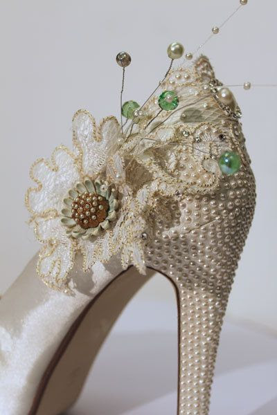 Vintage Lace and Pearl Bridal Shoes by VBrideBoutique on Etsy, £100.00