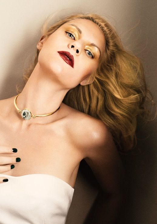 FASHION BLOG CLAIRE DANES INTERVIEW MAGAZINE Photography Fabien Baron Stylist Karl Templer GOLDEN GLAM CHIC GLAMOUR HAIR VOLUME GOLD SHIMMER EYESHADOW BURGUNDY LIPS LIPSTICK BLACK NAILS MANICURE WHITE SATIN SILK DIOR DRESS. CELINE CHOKER MARBLE AGATE STONE NECKLACE HINGE NECKLACE: CELINE. 5 photo LEFASHIONBLOGCLAIREDANESINTERVIEWMAGAZINE5.jpg