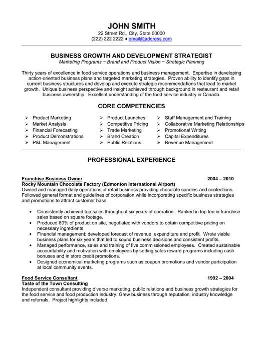 sample resume landscape business owner