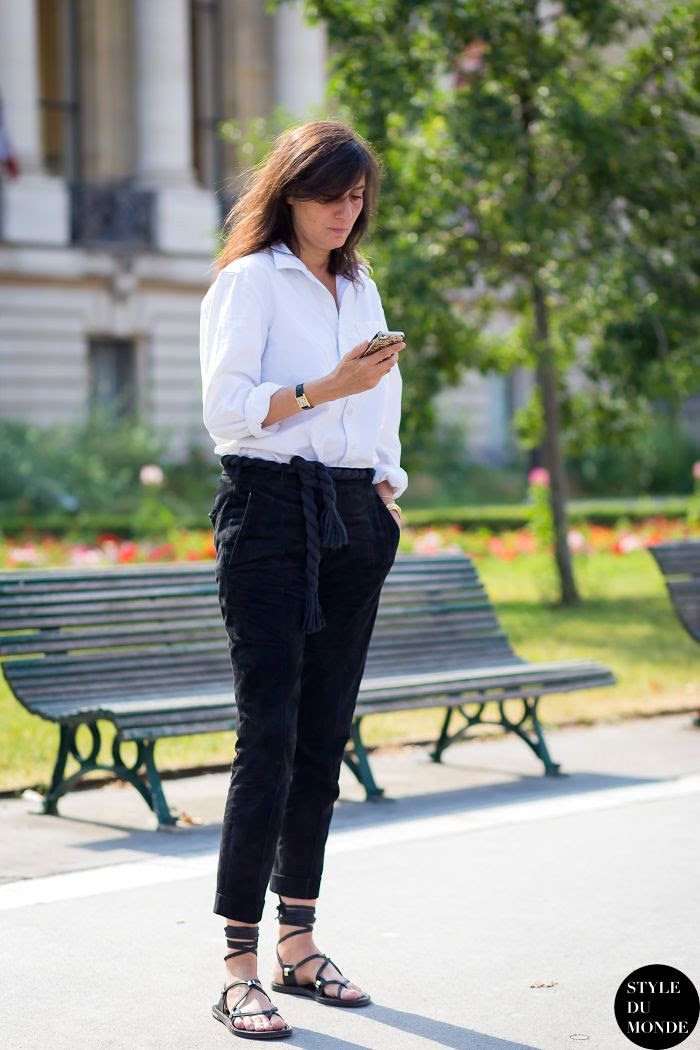 Le Fashion Blog Emmanuelle Alt Street Style Lace Up Sandals Transitional Summer To Fall White Button Down Shirt Cropped Pants Via Style Du Monde