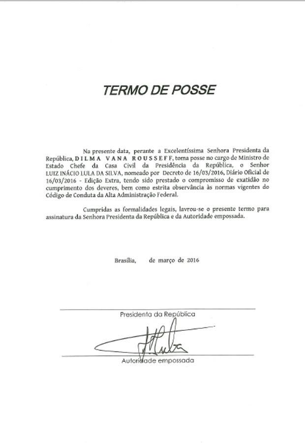 Termo de posse do ex-presidente Lula como ministro da Casa Civil do governo Dilma (Foto: Reprodução)