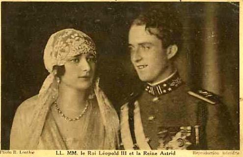 Hochzeitsfoto von Astrid von Schweden und Leopold von Belgien / La Reine Astrid