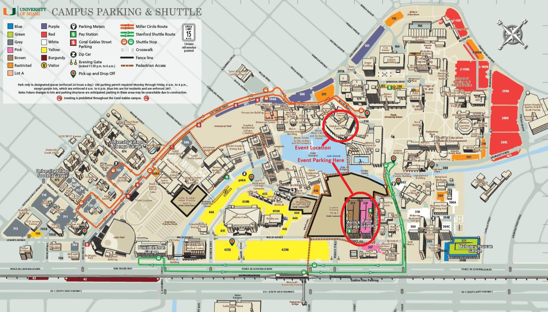 university of miami parking map   map of the world