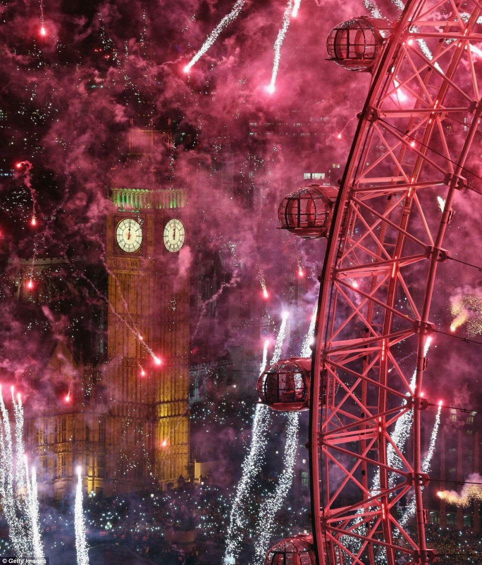 The sky above London burst into a riot of colours last night as the new year was welcomed in with one of the most spectacular fireworks displays for years