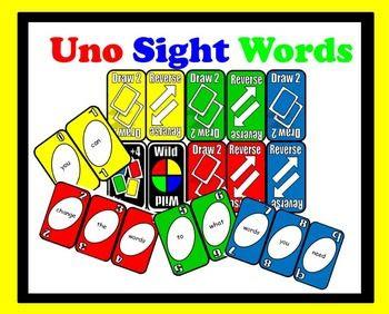 FREE Microsoft Word (changable) UNO sight word cards!! Please like ...