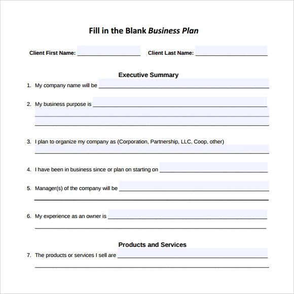 Fillable Business Plan