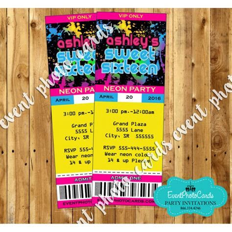 Glow Party Ticket Invitations   16, Sweet Fifteen or
