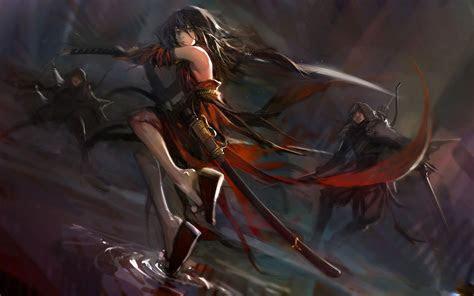 anime girl fighting katana sword pixiv fantasia hd