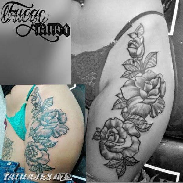 Rosas En La Pierna Tatuajes 123