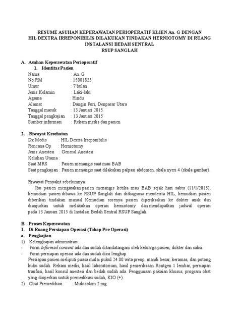 Resume Asuhan Keperawatan Perioperatif Klien An