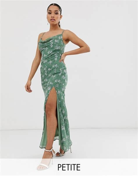 Boohoo Petite exclusive maxi dress with cowl neck and side