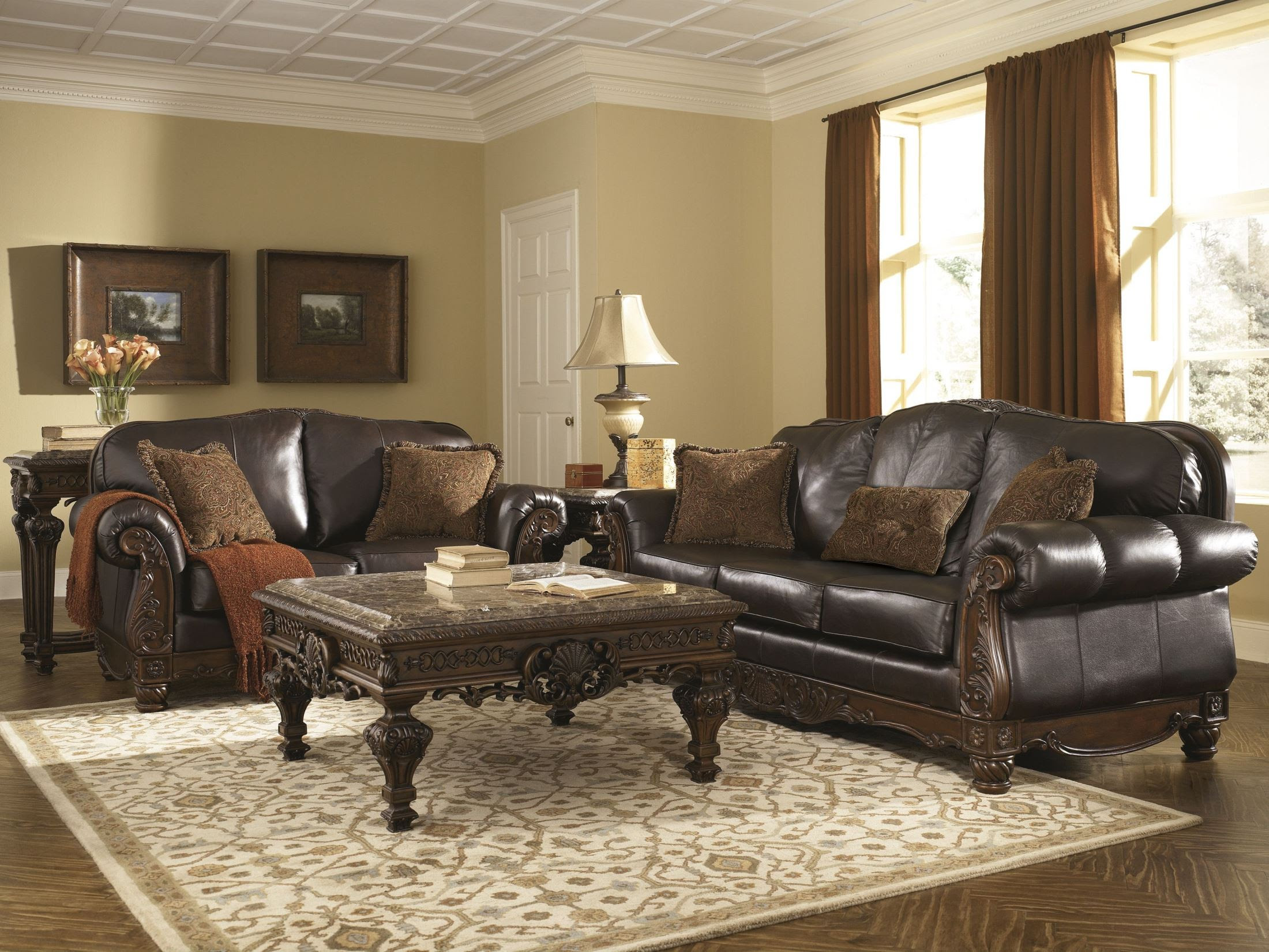 North Shore Dark Brown Living Room Set from Ashley (22603 ...