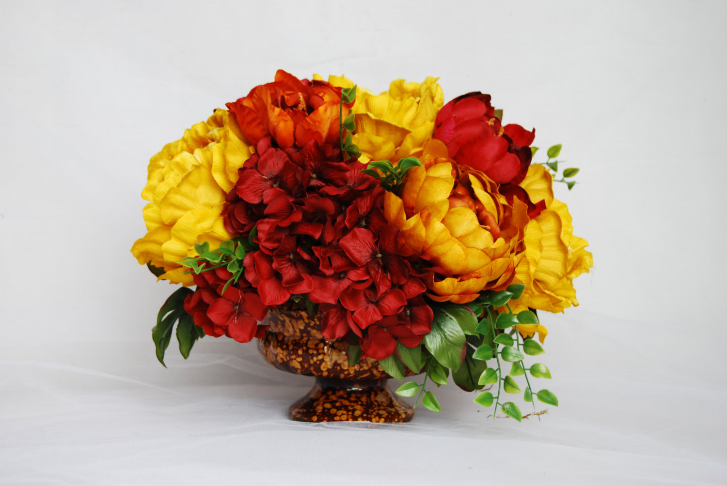 Silk Flower Arrangements Dining Table Arrangements Dining Table Centerpieces Peony Centerpiece Flower Centerpieces Orange And Yellow Floral Designs By Alka