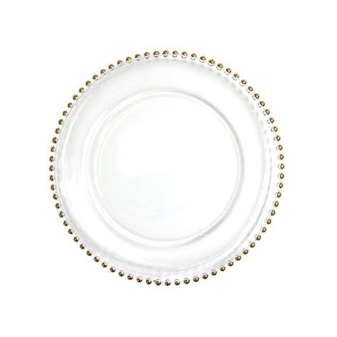 Clear Glass Gold Beaded Couture Charger Plate, 4 pack