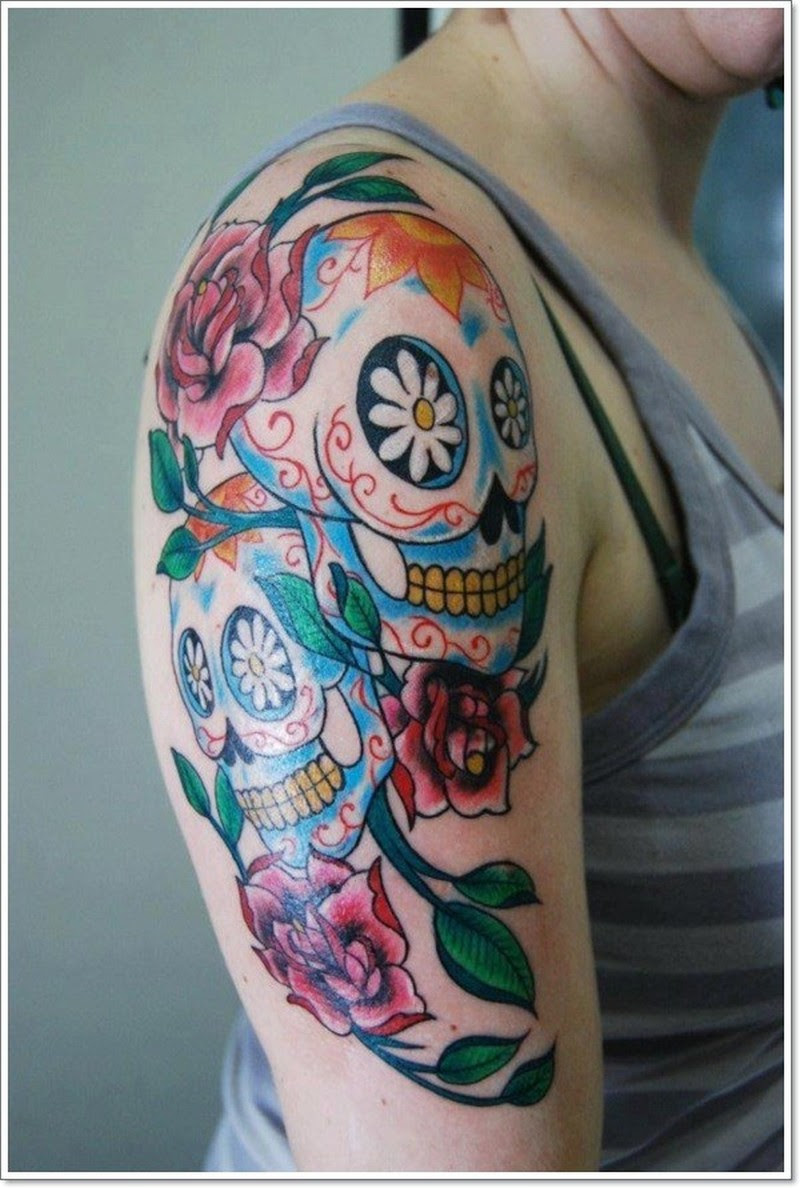 Vivid Colors Sugar Skull Tattoo On Half Sleeve Tattoos Book