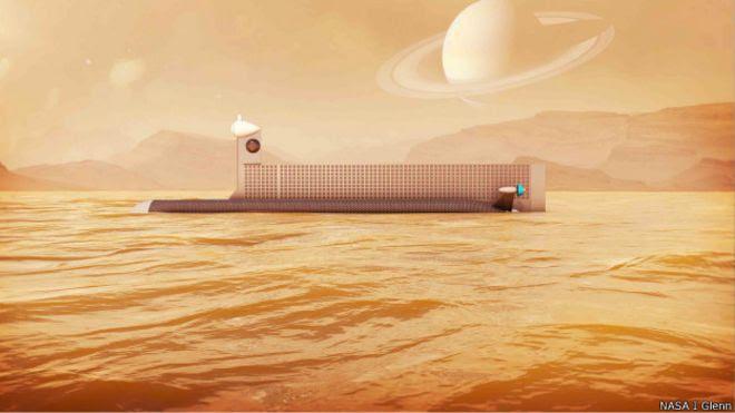 Desenho do submarino que seria usado para explorar Titan (Imagem: NASA/Glenn)