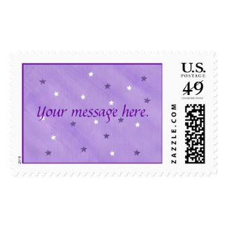 Your message, purple and white stars stamps