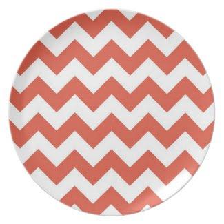Orange and White Zigzag Plates