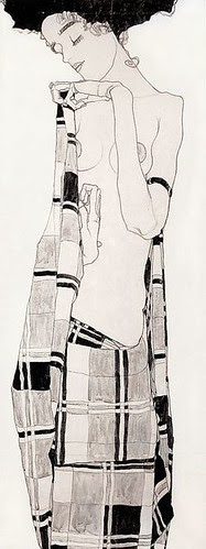 Egon Schiele, Standing Girl in Plaid Dress [Gerti, Schiele's sister], 1909 by kraftgenie