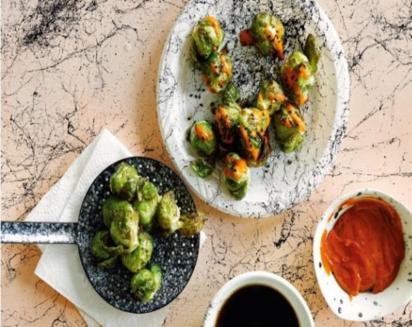 Brussels Sprouts Okonomiyaki Style