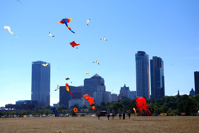 Milwaukee skyline with kites