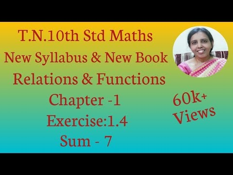 10th std Maths New Syllabus (T.N) 2019 - 2020 Relations & Functions Ex:1.4-7