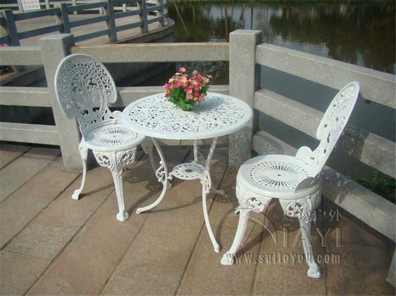3 piece hot sale cast aluminum metal patio furniture ...