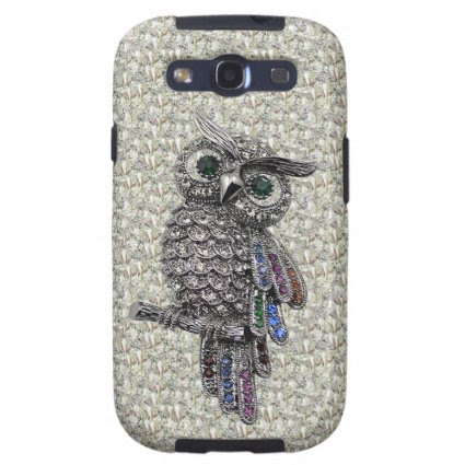 Printed Silver Owl & Jewels on Diamonds Print Galaxy SIII Cover