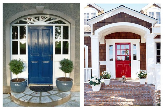 blue and red front door