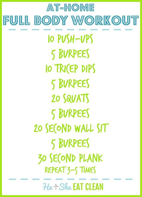 full body workout  home   eat clean healthy