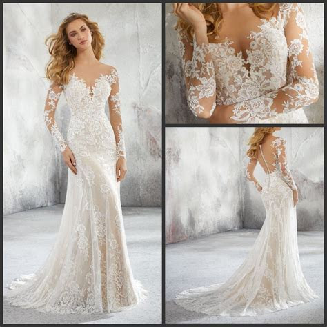 China Mermaid Bridal Gowns Long Sleeves Lace Wedding