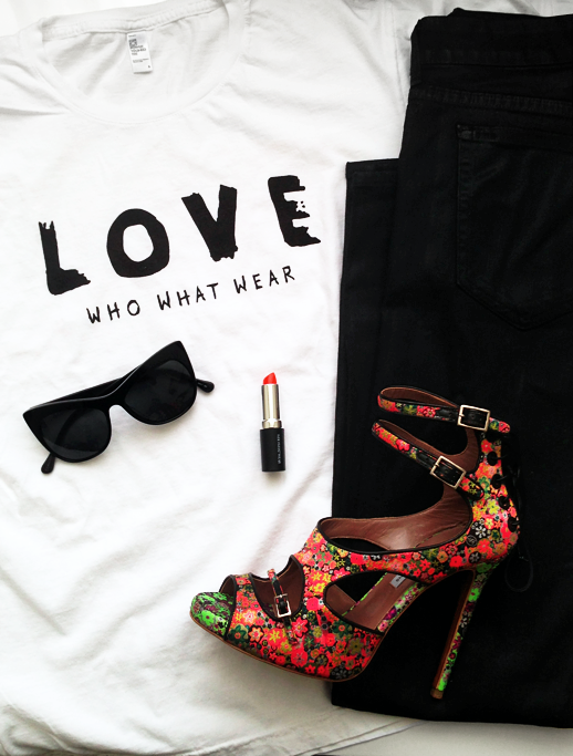 LE FASHION BLOG WHO WHAT WEAR RELAUNCH REDESIGN WEBSITE WWW LOVE TEE TSHIRT BRIGHT LIPSTICK OUTFIT COLLAGE KORAL COATED BLACK SKINNY JEANS TABITHA SIMMONS BAILEY FLORAL HEELS SANDALS ELIZABETH JAMES LAFAYETTE CAT EYE SUNGLASSES 2