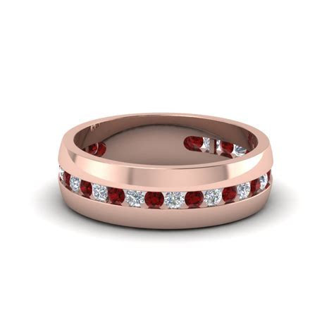 Mens Diamond Channel Wedding Band With Ruby In 14K Rose