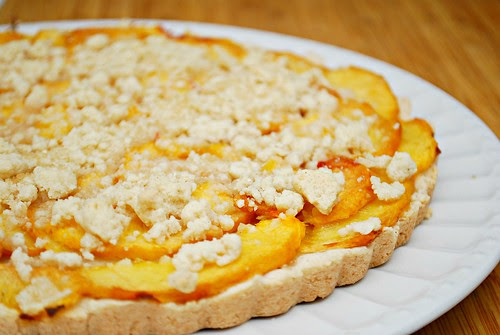 Fresh Peach Shortbread Tart