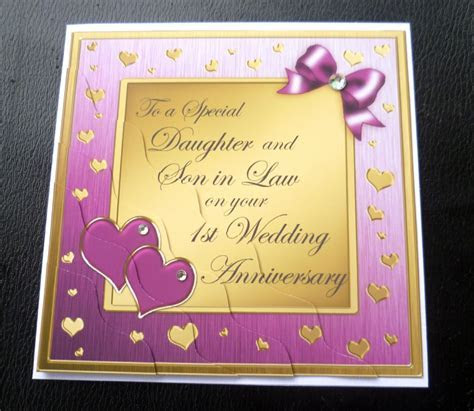 Daughter & Son In Law 1st First Wedding Anniversary Card