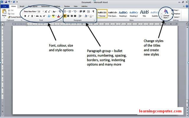 ms word 2010 groups of home tab9