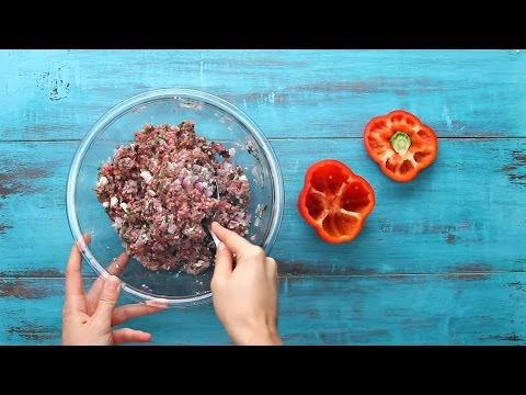 Gulodices à segunda - Pimentos recheados com carne de vaca e queijo feta